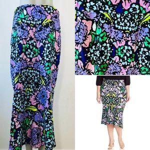 Melissa Mccarthy Ponte Mermaid Flare Skirt Floral